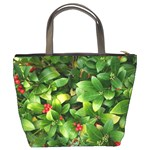 Christmas Season Floral Green Red Skimmia Flower Bucket Bags Back