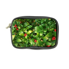 Christmas Season Floral Green Red Skimmia Flower Coin Purse