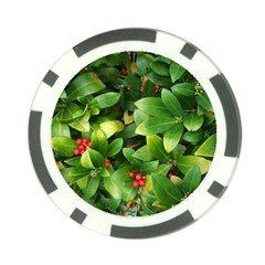Christmas Season Floral Green Red Skimmia Flower Poker Chip Card Guard (10 Pack)