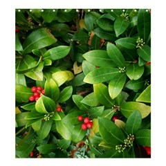 Christmas Season Floral Green Red Skimmia Flower Shower Curtain 66  X 72  (large)