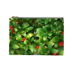 Christmas Season Floral Green Red Skimmia Flower Cosmetic Bag (large)