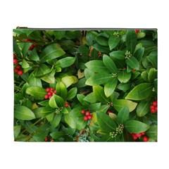 Christmas Season Floral Green Red Skimmia Flower Cosmetic Bag (xl)