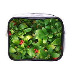 Christmas Season Floral Green Red Skimmia Flower Mini Toiletries Bags