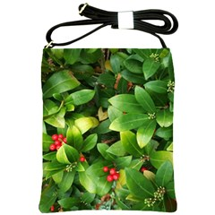 Christmas Season Floral Green Red Skimmia Flower Shoulder Sling Bags