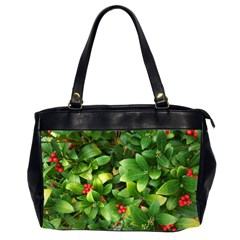 Christmas Season Floral Green Red Skimmia Flower Office Handbags (2 Sides)