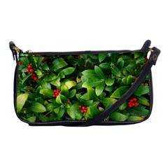 Christmas Season Floral Green Red Skimmia Flower Shoulder Clutch Bags