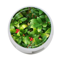 Christmas Season Floral Green Red Skimmia Flower 4 Port Usb Hub (two Sides)
