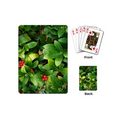 Christmas Season Floral Green Red Skimmia Flower Playing Cards (mini)