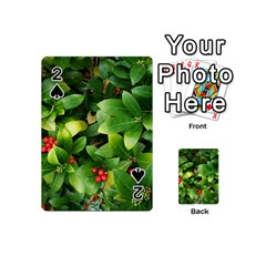 Christmas Season Floral Green Red Skimmia Flower Playing Cards 54 (mini)