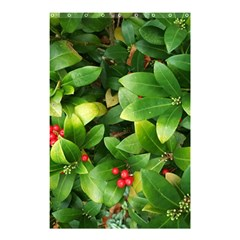 Christmas Season Floral Green Red Skimmia Flower Shower Curtain 48  X 72  (small)