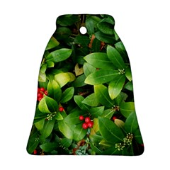 Christmas Season Floral Green Red Skimmia Flower Bell Ornament (two Sides)