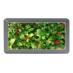 Christmas Season Floral Green Red Skimmia Flower Memory Card Reader (mini)