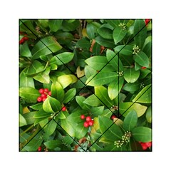 Christmas Season Floral Green Red Skimmia Flower Acrylic Tangram Puzzle (6  X 6 )