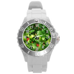 Christmas Season Floral Green Red Skimmia Flower Round Plastic Sport Watch (l)