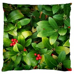 Christmas Season Floral Green Red Skimmia Flower Large Cushion Case (two Sides)