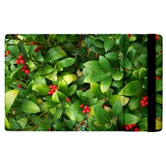 Christmas Season Floral Green Red Skimmia Flower Apple Ipad 2 Flip Case