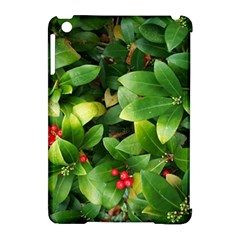 Christmas Season Floral Green Red Skimmia Flower Apple Ipad Mini Hardshell Case (compatible With Smart Cover)
