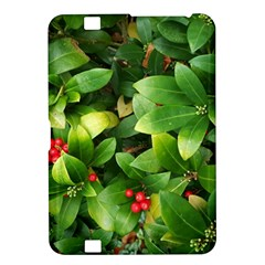 Christmas Season Floral Green Red Skimmia Flower Kindle Fire Hd 8 9