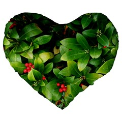 Christmas Season Floral Green Red Skimmia Flower Large 19  Premium Heart Shape Cushions