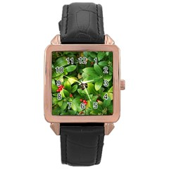 Christmas Season Floral Green Red Skimmia Flower Rose Gold Leather Watch