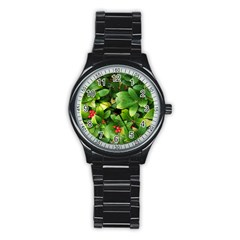 Christmas Season Floral Green Red Skimmia Flower Stainless Steel Round Watch
