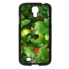 Christmas Season Floral Green Red Skimmia Flower Samsung Galaxy S4 I9500/ I9505 Case (black)
