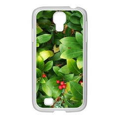 Christmas Season Floral Green Red Skimmia Flower Samsung Galaxy S4 I9500/ I9505 Case (white)