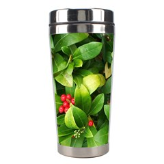 Christmas Season Floral Green Red Skimmia Flower Stainless Steel Travel Tumblers