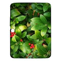 Christmas Season Floral Green Red Skimmia Flower Samsung Galaxy Tab 3 (10 1 ) P5200 Hardshell Case