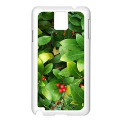 Christmas Season Floral Green Red Skimmia Flower Samsung Galaxy Note 3 N9005 Case (white)