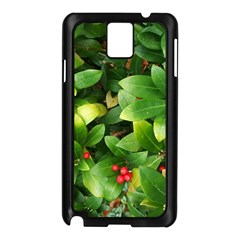 Christmas Season Floral Green Red Skimmia Flower Samsung Galaxy Note 3 N9005 Case (black)