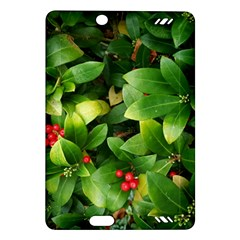 Christmas Season Floral Green Red Skimmia Flower Amazon Kindle Fire Hd (2013) Hardshell Case