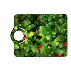 Christmas Season Floral Green Red Skimmia Flower Kindle Fire Hd (2013) Flip 360 Case
