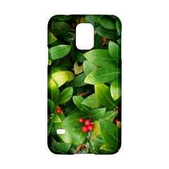 Christmas Season Floral Green Red Skimmia Flower Samsung Galaxy S5 Hardshell Case