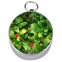 Christmas Season Floral Green Red Skimmia Flower Silver Compasses