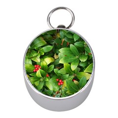 Christmas Season Floral Green Red Skimmia Flower Mini Silver Compasses
