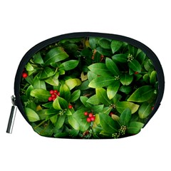 Christmas Season Floral Green Red Skimmia Flower Accessory Pouches (medium)