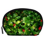 Christmas Season Floral Green Red Skimmia Flower Accessory Pouches (Large)  Front