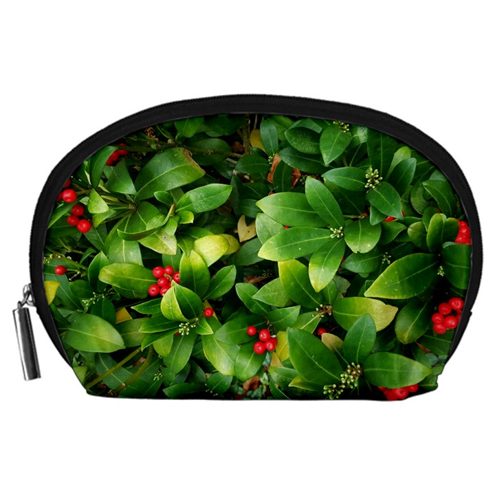 Christmas Season Floral Green Red Skimmia Flower Accessory Pouches (Large)