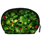 Christmas Season Floral Green Red Skimmia Flower Accessory Pouches (Large)  Back