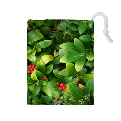 Christmas Season Floral Green Red Skimmia Flower Drawstring Pouches (large)