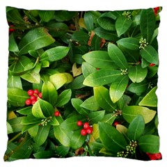 Christmas Season Floral Green Red Skimmia Flower Standard Flano Cushion Case (one Side)