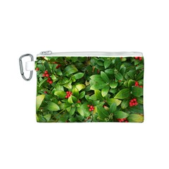 Christmas Season Floral Green Red Skimmia Flower Canvas Cosmetic Bag (s)