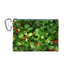 Christmas Season Floral Green Red Skimmia Flower Canvas Cosmetic Bag (m)