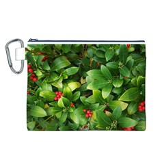 Christmas Season Floral Green Red Skimmia Flower Canvas Cosmetic Bag (l)