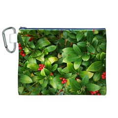 Christmas Season Floral Green Red Skimmia Flower Canvas Cosmetic Bag (xl)