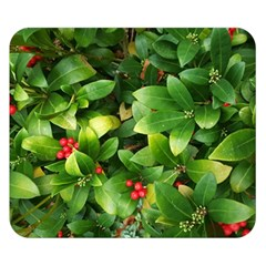Christmas Season Floral Green Red Skimmia Flower Double Sided Flano Blanket (small)