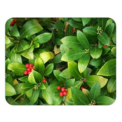 Christmas Season Floral Green Red Skimmia Flower Double Sided Flano Blanket (large)