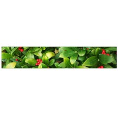 Christmas Season Floral Green Red Skimmia Flower Large Flano Scarf