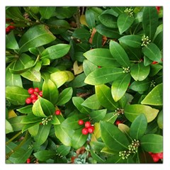 Christmas Season Floral Green Red Skimmia Flower Large Satin Scarf (square)